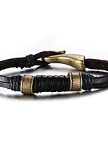 Men's Leather Bracelet Hip-Hop Rock Leather Titanium Steel Line Jewelry For Party Birthday Gift Evening Party