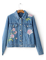 Women's Going out Casual/Daily Simple Street chic Spring Fall Denim Jacket,Print Shirt Collar Long Sleeve Regular Cotton Others
