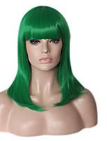 Donna Parrucche sintetiche Senza tappo Medio Lungo Lisci Kinky liscia Verde Parrucca riccia stile afro Attaccatura dei capelli naturale