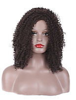 Women Synthetic Wig Capless Short Medium Afro Jheri Curl Medium Brown African American Wig Layered Haircut Party Wig Halloween Wig