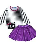 Girls' Stripes Sets,Cotton Spring Fall Long Sleeve Clothing Set
