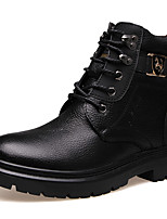 Men's Shoes Cowhide Fall Winter Comfort Combat Boots Boots Lace-up For Casual Brown Black