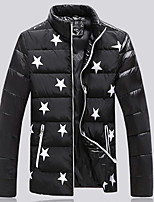 Men's Regular Down Coat,Simple Plus Size Casual/Daily Print-Cotton Polypropylene Long Sleeves