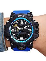 Herrn Kinder Sportuhr Modeuhr Armbanduhr Quartz LCD Kalender Wasserdicht Duale Zeitzonen Stopuhr PU Band Cool Bequem Schwarz Blau Rot