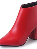Feminino Sapatos Couro Ecológico Outono Coturnos Botas Salto Grosso Ponta Redonda Ziper Para Casual Preto Vermelho Champanhe