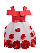 Girl's Birthday Casual/Daily Holiday Solid Floral Jacquard Dress,Cotton Polyester Fall All Seasons Short Sleeve