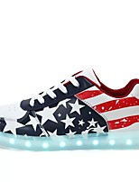 Boys' Shoes Leatherette Spring Fall Light Soles Sneakers Lace-up For Casual Light Blue Dark Blue Black