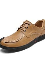 Для мужчин обувь Дерматин Кожа Весна Осень Удобная обувь Кеды Комбинация материалов Назначение Повседневные Черный Коричневый Хаки