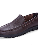 Men's Shoes Leather Nappa Leather Spring Fall Comfort Loafers & Slip-Ons For Casual Party & Evening Dark Brown Black