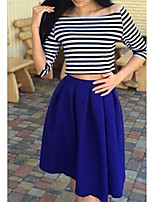 Women's Going out Casual/Daily Street chic Summer T-shirt Skirt Suits,Striped Boat Neck ¾ Sleeve Micro-elastic