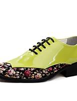 Masculino sapatos Micofibra Sintética PU Primavera Outono Sapatos formais Oxfords Cadarço Para Festas & Noite Branco Preto Verde Vinho