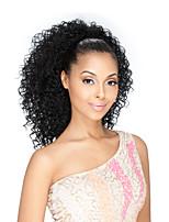 Donna Parrucche di capelli umani con retina Brasiliano Cappelli veri Lace frontale 130% Densità Con ciuffetti Kinky Curly Parrucca Nero