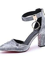 Women's Shoes Suede Summer Comfort Heels Chunky Heel Pointed Toe For Dress Blushing Pink Gray Black