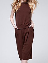Women's Going out Casual/Daily Street chic Spring Shirt Pant Suits,Solid Round Neck Sleeveless Inelastic