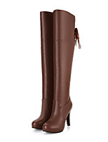 Women's Shoes PU Fall Winter Comfort Novelty Fashion Boots Boots Stiletto Heel Round Toe Knee High Boots Lace-up For Office & Career Dress