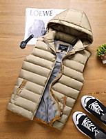 Men's Regular Padded Coat,Simple Active Sports Casual/Daily Solid-Polyester Polyester Sleeveless