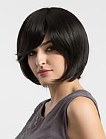 Women Human Hair Capless Wigs Black Medium Length Natural Wave