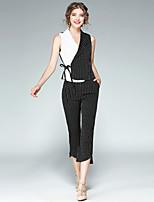 EWUS Women's Work Street chic Summer Fall Shirt Pant SuitsStriped Peter Pan Collar Sleeveless Inelastic