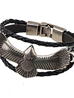 Men's Women's Leather Bracelet Fashion Hip-Hop Gold Plated Eagle Jewelry For Casual Club