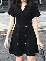 Women's Plus Size Going out Simple Little Black Dress,Solid V Neck Above Knee Short Sleeves Polyester Summer Mid Rise Inelastic Medium