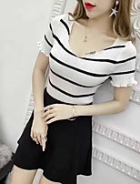 Women's Going out Sexy Summer T-shirt,Striped Round Neck Short Sleeves Others Opaque