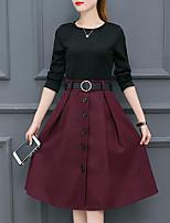 Gaine Robe Femme Décontracté / Quotidien Grandes Tailles simple,Couleur Pleine Col Arrondi Mi-long Manches Longues Polyester Automne