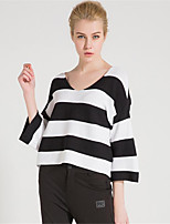 Women's Casual/Daily Simple Short Pullover,Solid Striped Color Block Round Neck 3/4 Length Sleeves Cotton Rayon Fall Winter Medium