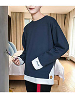 Men's Going out Casual/Daily Sweatshirt Color Block Round Neck Micro-elastic Others Long Sleeve Fall