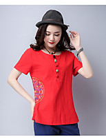 Women's Going out Chinoiserie T-shirt,Solid Embroidery Round Neck Short Sleeves Cotton