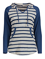 Women's Holiday Casual/Daily Simple Street chic Fall T-shirt,Striped Hooded Long Sleeves Polyester