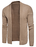 Men's Going out Casual/Daily Simple Sexy Street chic Regular Cardigan,Solid V Neck Long Sleeves Cotton Polyester Spring Fall Medium