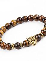 Men's Women's Bracelet Strand Bracelet Onyx Natural Handmade Stone Alloy Round Leopard Jewelry For Party Gift