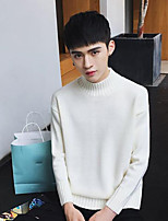 Men's Casual/Daily Regular Pullover,Solid Round Neck Long Sleeves Cotton Fall Medium Micro-elastic