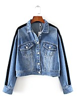 Women's Going out Casual/Daily Simple Street chic Spring Fall Denim Jacket,Solid Shirt Collar Long Sleeve Regular Cotton Others