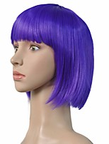 Women Synthetic Wig Capless Short Straight Bright Purple Bob Haircut With Bangs Party Wig Celebrity Wig Halloween Wig Carnival Wig