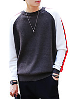 Men's Going out Casual/Daily Simple Regular Pullover,Solid Color Block Round Neck Long Sleeves Polyester Spring Fall Medium Micro-elastic