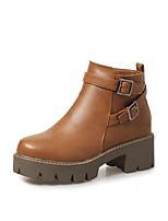 Women's Shoes PU Fall Winter Comfort Boots Chunky Heel Round Toe Buckle Zipper For Outdoor Office & Career Brown Gray Black