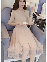 Women's Holiday Vintage Sophisticated Spring Summer Blouse Skirt Suits,Solid V Neck ¾ Sleeve Micro-elastic
