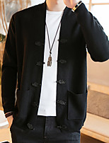 Men's Plus Size Casual/Daily Simple Chinoiserie Regular Cardigan,Solid V Neck Long Sleeves Cotton Spring Fall Medium Stretchy