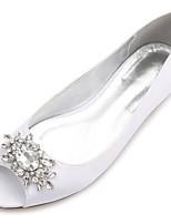 Da donna Scarpe Raso Primavera Estate Comoda Ballerina scarpe da sposa Piatto Punta aperta Con diamantini Brillantini Floreale Per