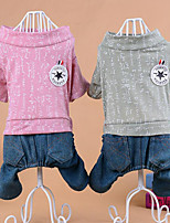 Dog Clothes/Jumpsuit Dog Clothes Casual/Daily Letter & Number Blushing Pink Green