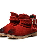Girls' Shoes Leather Winter Fluff Lining Comfort First Walkers Snow Boots Boots Booties/Ankle Boots Tassel(s) Tassel For Wedding Dress