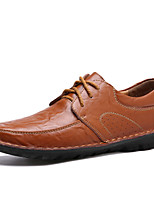 Men's Shoes Leather Spring Fall Comfort Oxfords For Casual Office & Career Brown Black