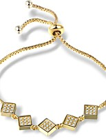 Women's Girls' Chain Bracelet Cubic Zirconia Fashion Adjustable Zircon Alloy Square Jewelry For Party Daily
