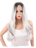 Women Synthetic Wig Capless Long Wavy Natural Wave White Ombre Hair Highlighted/Balayage Hair Middle Part Layered Haircut Party Wig