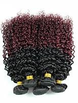 Vergini Indiano Ambra Kinky Curly Extensions per capelli 3 pezzi Nero / vino scuro