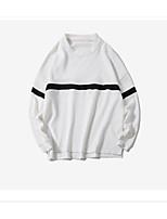 Men's Casual/Daily Sweatshirt Color Block Round Neck Micro-elastic Cotton Long Sleeve Fall