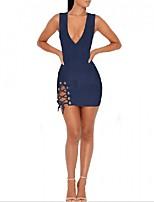 Damen Bodycon Kleid-Lässig/Alltäglich Sexy Solide V-Ausschnitt Mini Ärmellos Polyester Sommer Mittlere Hüfthöhe Mikro-elastisch Mittel