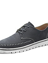 Men's Shoes Leather Spring Fall Comfort Sneakers Lace-up For Casual Khaki Gray Black