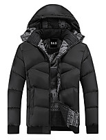 Men's Short Padded Coat,Simple Casual/Daily Solid-Polyester Polyester Long Sleeves
